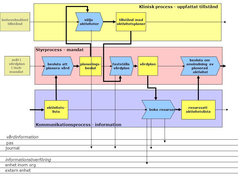 välja aktiviteter besluta att planera vård planerings- beslut Klinisk process - uppfattat tillstånd Styrprocess - mandat Kommunikationsprocess - infor