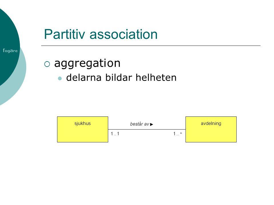 f og a re Partitiv association  aggregation delarna bildar helheten avdelningsjukhus består av 1 *..11