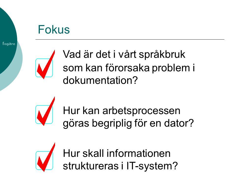 f og a re Fokus Vad är det i vårt språkbruk som kan förorsaka problem i dokumentation? Hur kan arbetsprocessen göras begriplig för en dator? Hur skall