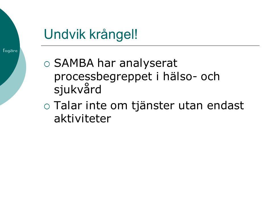 f og a re Undvik krångel!  SAMBA har analyserat processbegreppet i hälso- och sjukvård  Talar inte om tjänster utan endast aktiviteter
