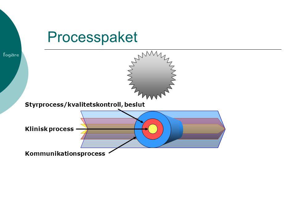 f og a re Processpaket Kommunikationsprocess Styrprocess/kvalitetskontroll, beslut Klinisk process