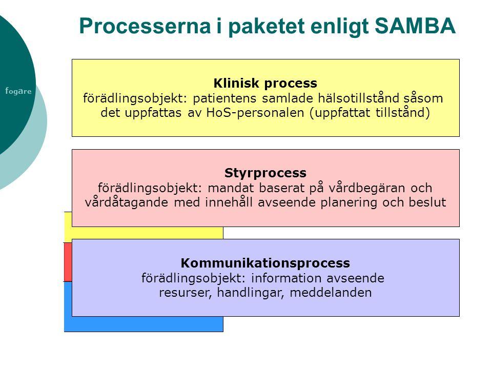 f og a re Processerna i paketet enligt SAMBA Klinisk process förädlingsobjekt: patientens samlade hälsotillstånd såsom det uppfattas av HoS-personalen