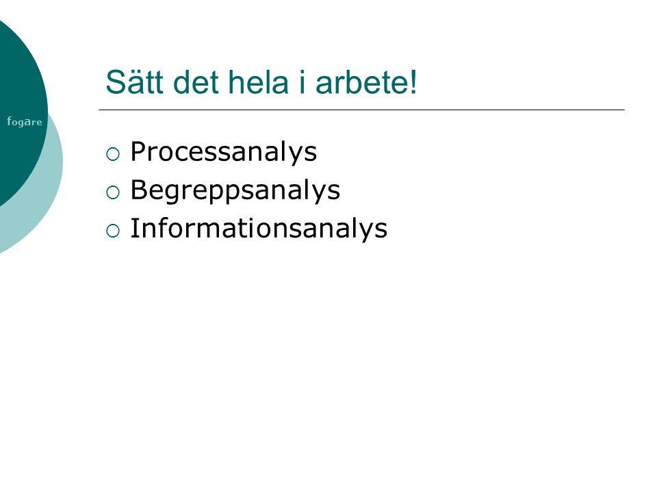 f og a re Sätt det hela i arbete!  Processanalys  Begreppsanalys  Informationsanalys