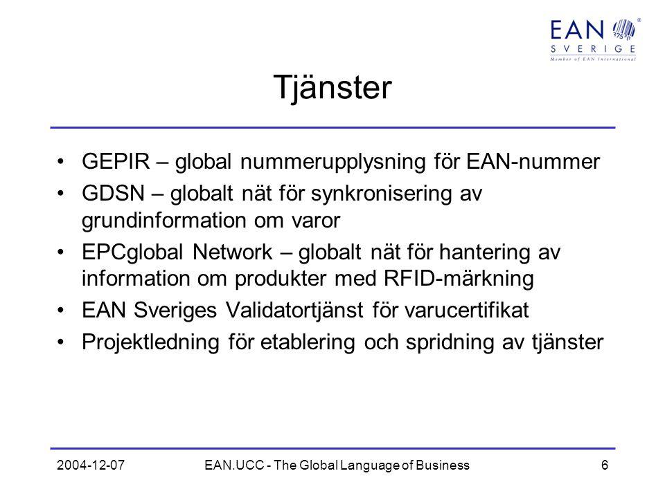 2004-12-07EAN.UCC - The Global Language of Business7 Elektronisk handel EANCOM är ett subset av EDIFACT EANCOM används av 120000 företag i Europa EAN Sveriges användarprofiler (ESAP) utvecklas tillsammans med användargrupper I Sverige används EANCOM/ESAP inom –Dagligvaruhandel –Kommuner och landsting / SFTI –Storhushåll –Energi - el –Hemelektronik/vitvaror –Tredjepartslogistik –Byggvaror –Kontorsmaterial –mm