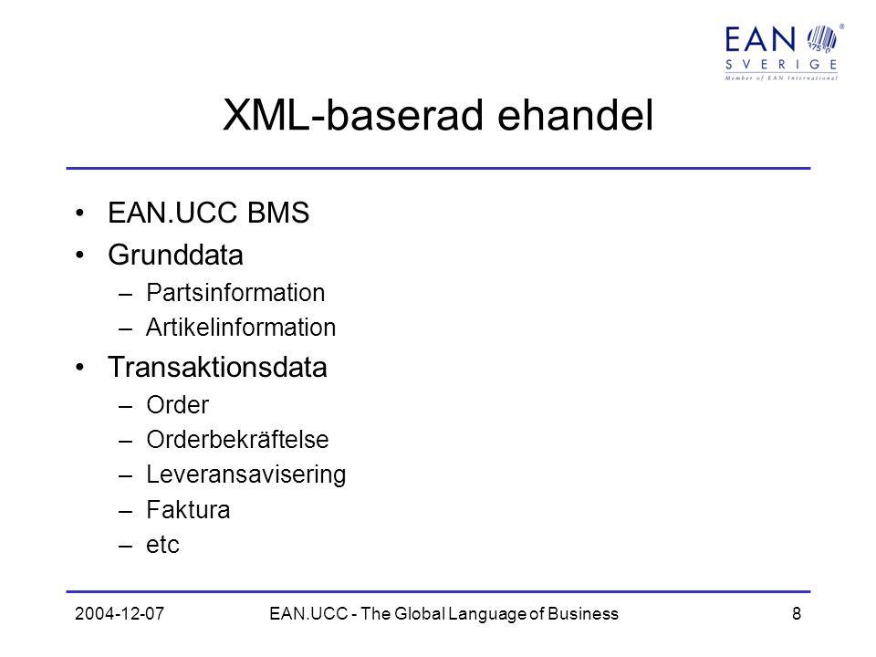 2004-12-07EAN.UCC - The Global Language of Business8 XML-baserad ehandel EAN.UCC BMS Grunddata –Partsinformation –Artikelinformation Transaktionsdata