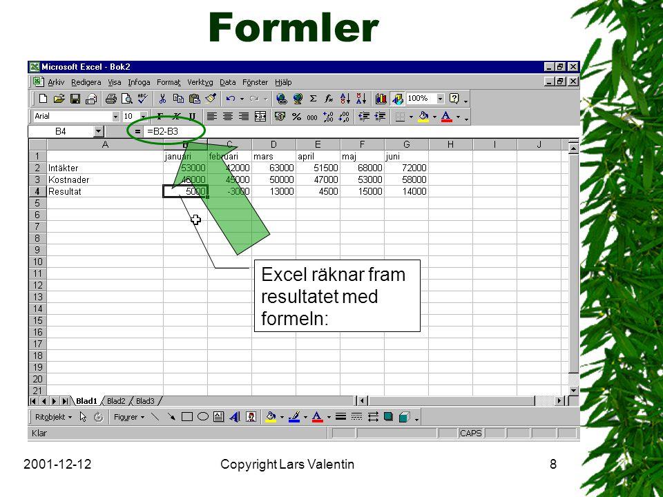2001-12-12Copyright Lars Valentin8 Formler Excel räknar fram resultatet med formeln: