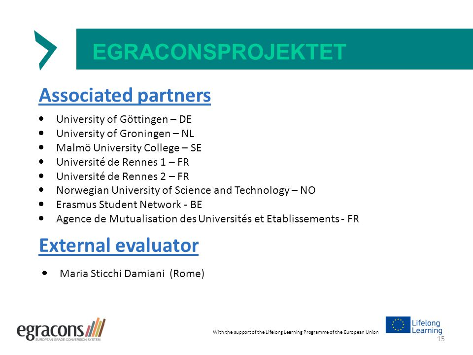 EGRACONSPROJEKTET Associated partners  University of Göttingen – DE  University of Groningen – NL  Malmö University College – SE  Université de Rennes 1 – FR  Université de Rennes 2 – FR  Norwegian University of Science and Technology – NO  Erasmus Student Network - BE  Agence de Mutualisation des Universités et Etablissements - FR With the support of the Lifelong Learning Programme of the European Union External evaluator  Maria Sticchi Damiani (Rome) 15