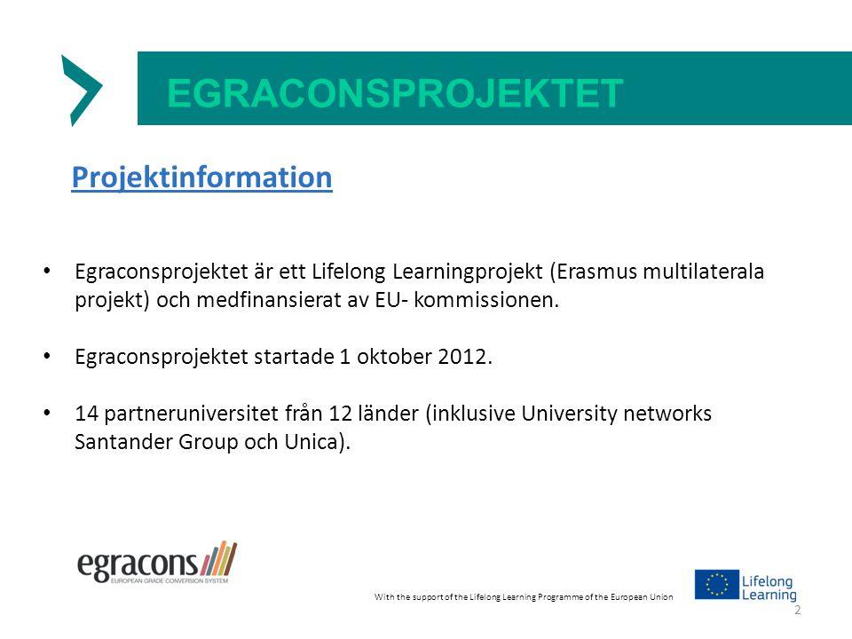 EGRACONSPROJEKTET Projektinformation Egraconsprojektet är ett Lifelong Learningprojekt (Erasmus multilaterala projekt) och medfinansierat av EU- kommissionen.