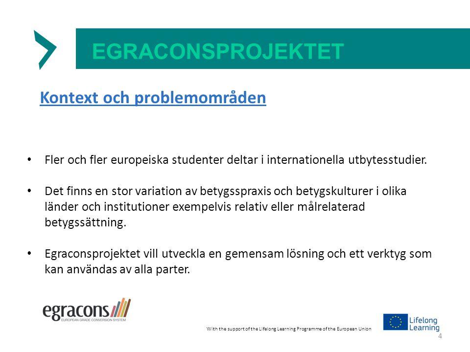 EGRACONSPROJEKTET Kontext och problemområden Fler och fler europeiska studenter deltar i internationella utbytesstudier.