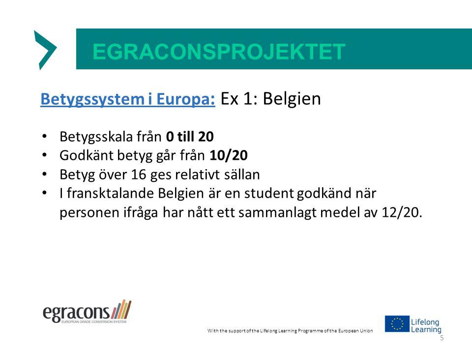 EGRACONSPROJEKTET Betygssystem i Europa : Ex 1: Belgien Betygsskala från 0 till 20 Godkänt betyg går från 10/20 Betyg över 16 ges relativt sällan I fransktalande Belgien är en student godkänd när personen ifråga har nått ett sammanlagt medel av 12/20.