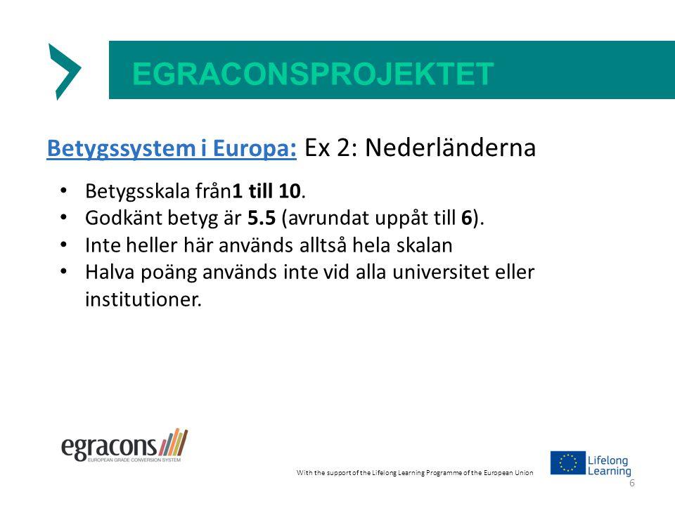 EGRACONSPROJEKTET Betygssystem i Europa : Ex 2: Nederländerna Betygsskala från1 till 10.