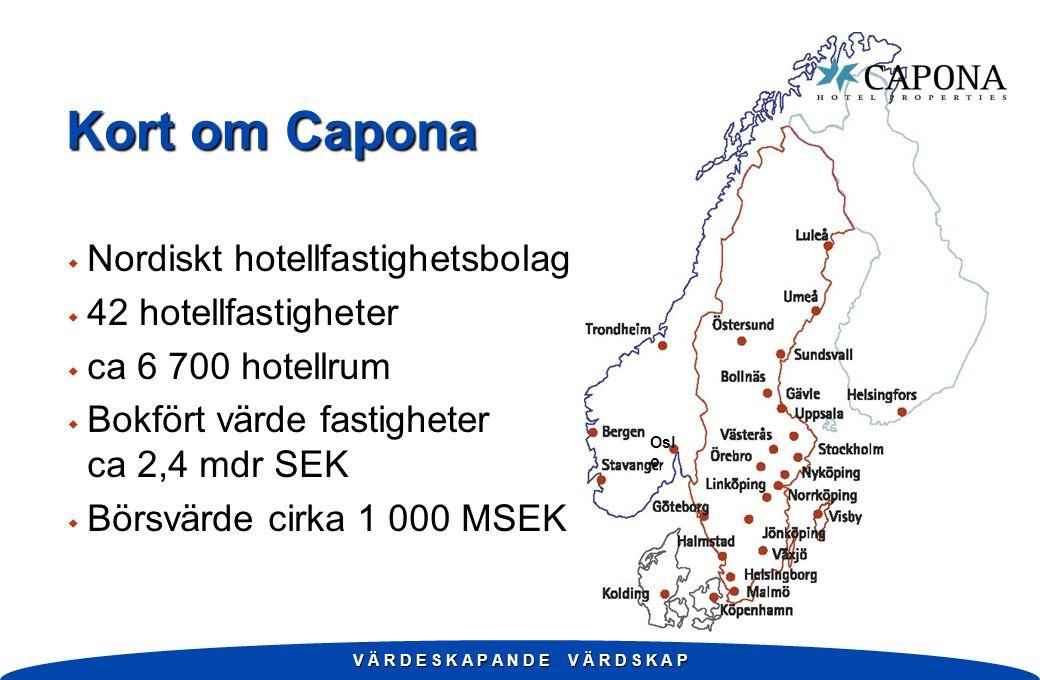 Kort om Capona w Nordiskt hotellfastighetsbolag w 42 hotellfastigheter w ca 6 700 hotellrum w Bokfört värde fastigheter ca 2,4 mdr SEK w Börsvärde cirka 1 000 MSEK V Ä R D E S K A P A N D E V Ä R D S K A P Osl o