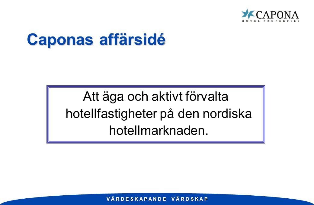V Ä R D E S K A P A N D E V Ä R D S K A P Caponas affärsidé Att äga och aktivt förvalta hotellfastigheter på den nordiska hotellmarknaden.