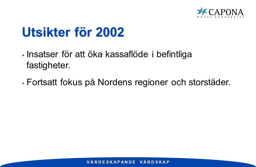 V Ä R D E S K A P A N D E V Ä R D S K A P Utsikter för 2002 w Insatser för att öka kassaflöde i befintliga fastigheter. w Fortsatt fokus på Nordens re