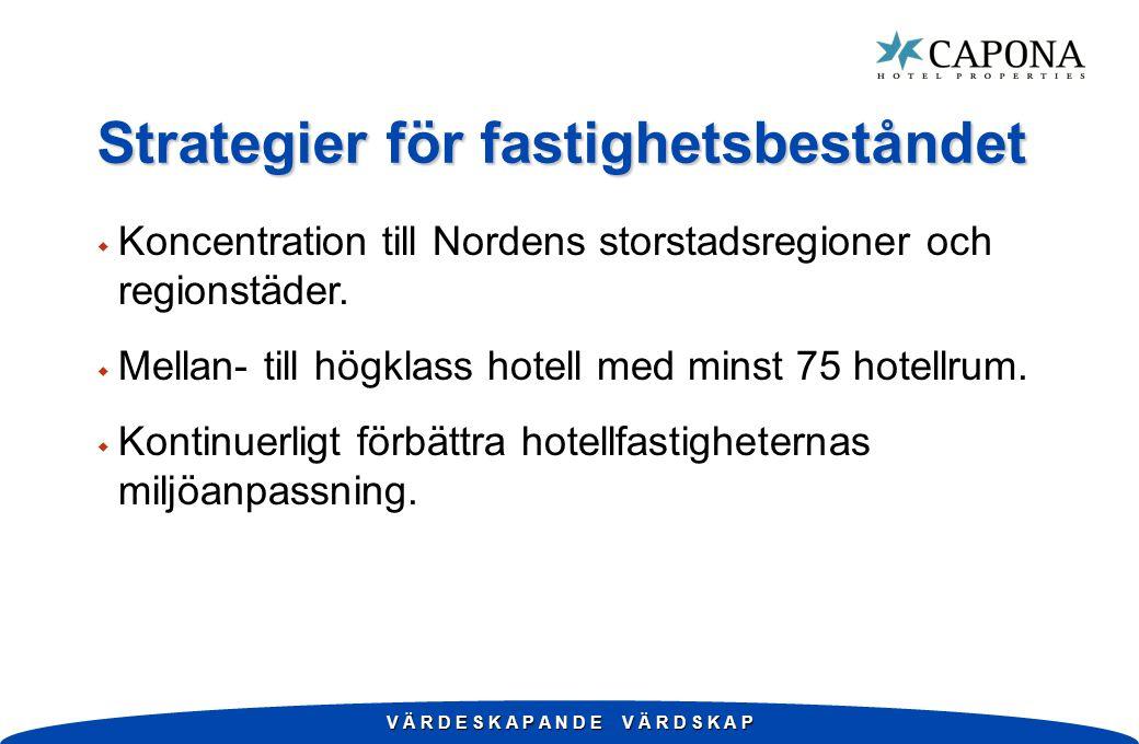 V Ä R D E S K A P A N D E V Ä R D S K A P Strategier för fastighetsbeståndet w Koncentration till Nordens storstadsregioner och regionstäder.