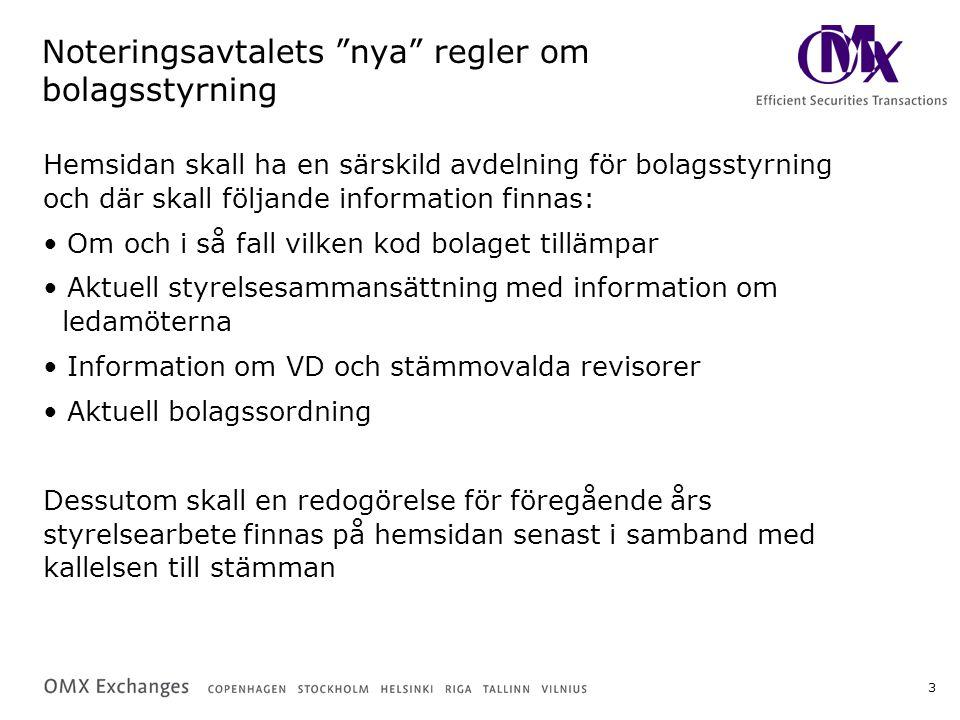 4 Resultat svenska börsbolag Kontroll av samtliga svenska bolags hemsidor (251 st) Granskningsperiod 15 - 25 november 153 av de svenska bolagen (60%) har en särskild avdelning för bolagsstyrning på hemsidan Olika var man finner informationen på hemsidan