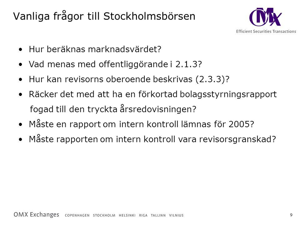 9 Vanliga frågor till Stockholmsbörsen Hur beräknas marknadsvärdet? Vad menas med offentliggörande i 2.1.3? Hur kan revisorns oberoende beskrivas (2.3