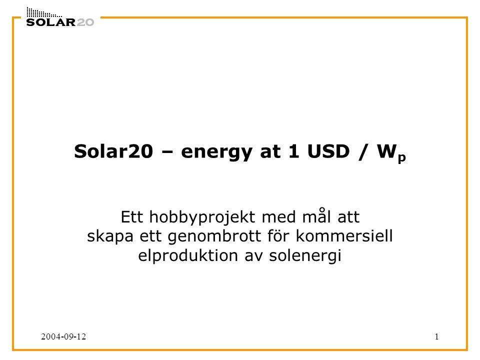 2004-09-121 Solar20 – energy at 1 USD / W p Ett hobbyprojekt med mål att skapa ett genombrott för kommersiell elproduktion av solenergi