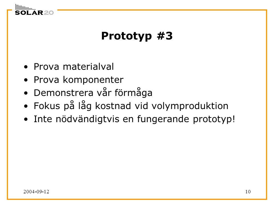 2004-09-1210 Prototyp #3 Prova materialval Prova komponenter Demonstrera vår förmåga Fokus på låg kostnad vid volymproduktion Inte nödvändigtvis en fungerande prototyp!