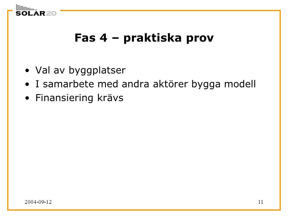 2004-09-1211 Fas 4 – praktiska prov Val av byggplatser I samarbete med andra aktörer bygga modell Finansiering krävs