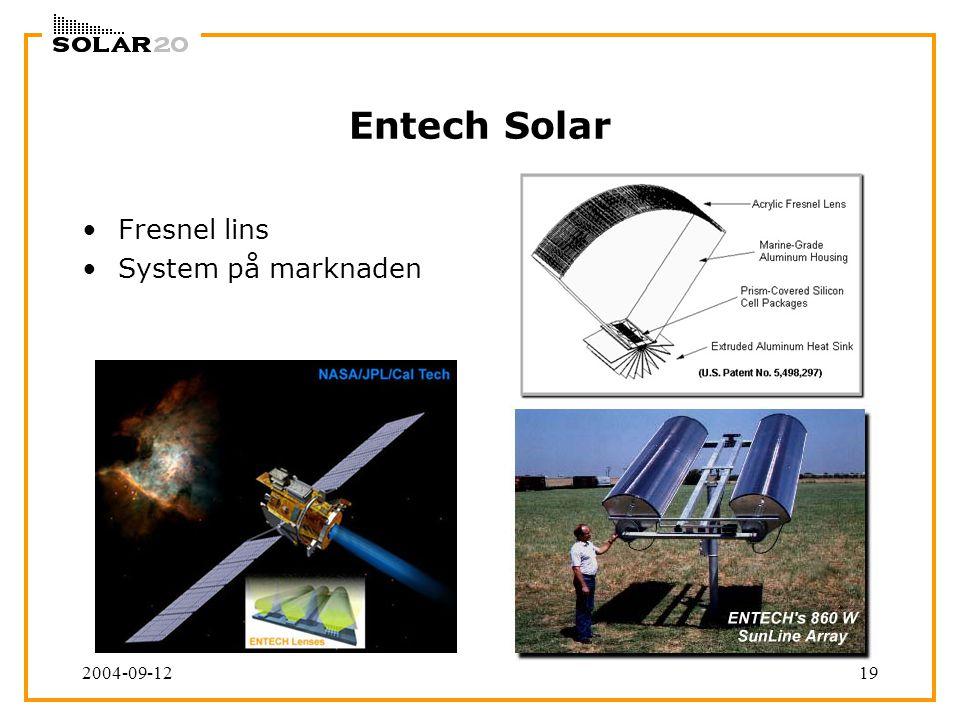 2004-09-1219 Entech Solar Fresnel lins System på marknaden