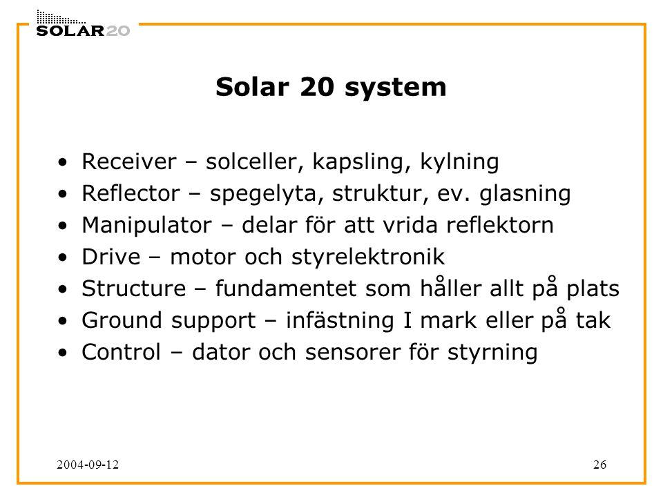 2004-09-1226 Solar 20 system Receiver – solceller, kapsling, kylning Reflector – spegelyta, struktur, ev. glasning Manipulator – delar för att vrida r