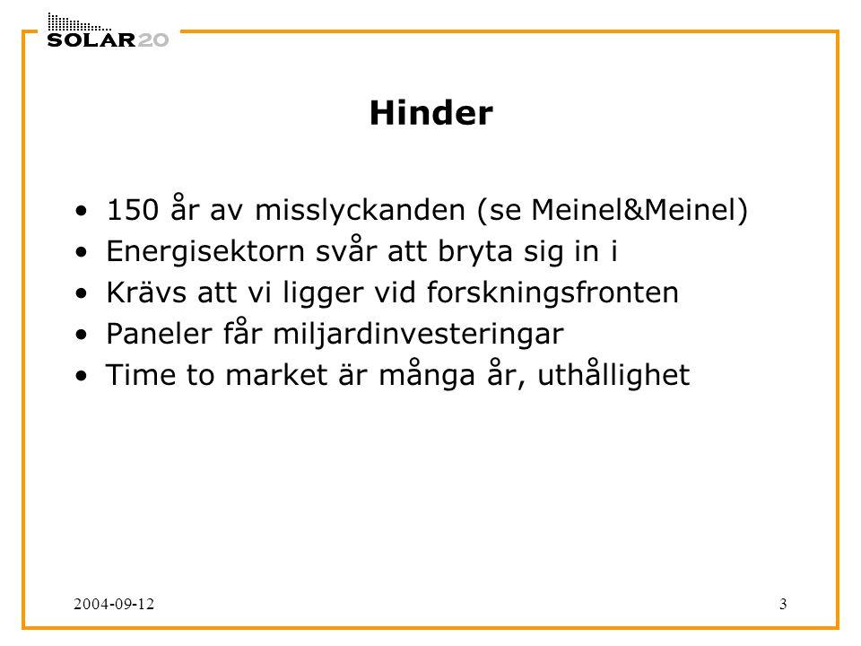 2004-09-123 Hinder 150 år av misslyckanden (se Meinel&Meinel) Energisektorn svår att bryta sig in i Krävs att vi ligger vid forskningsfronten Paneler får miljardinvesteringar Time to market är många år, uthållighet
