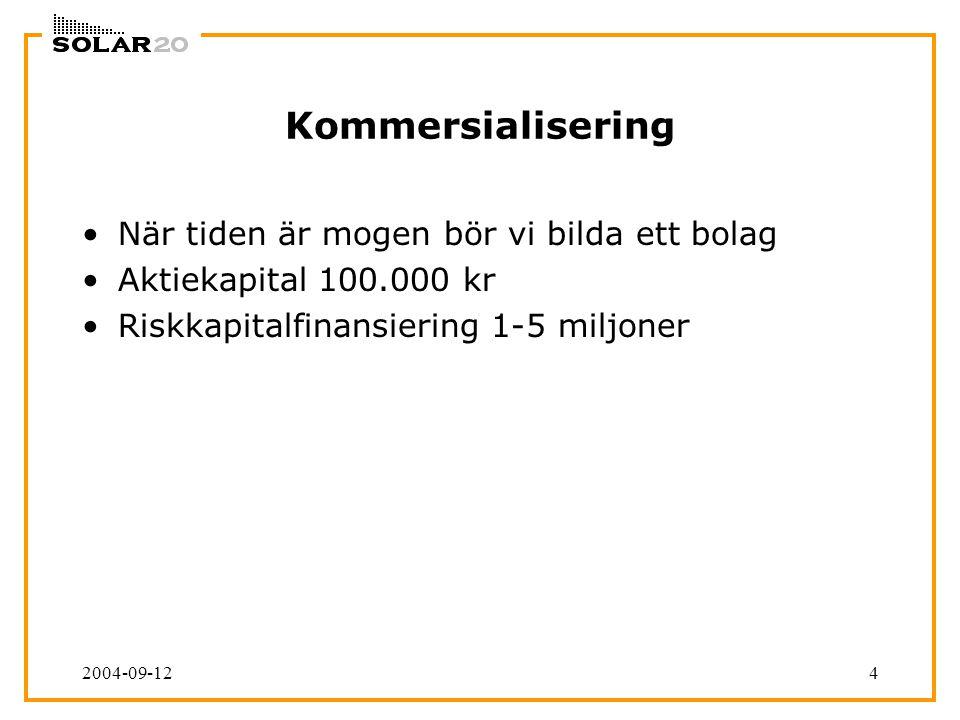 2004-09-124 Kommersialisering När tiden är mogen bör vi bilda ett bolag Aktiekapital 100.000 kr Riskkapitalfinansiering 1-5 miljoner
