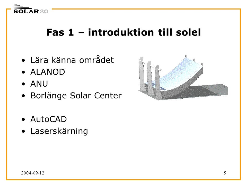 2004-09-125 Fas 1 – introduktion till solel Lära känna området ALANOD ANU Borlänge Solar Center AutoCAD Laserskärning