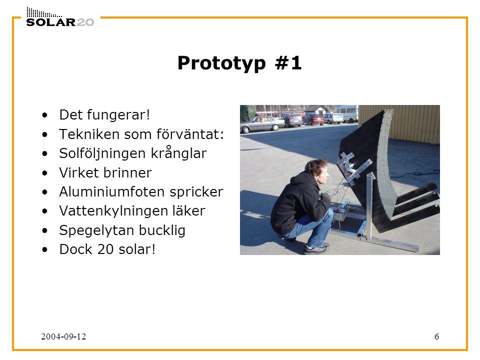 2004-09-126 Prototyp #1 Det fungerar! Tekniken som förväntat: Solföljningen krånglar Virket brinner Aluminiumfoten spricker Vattenkylningen läker Speg