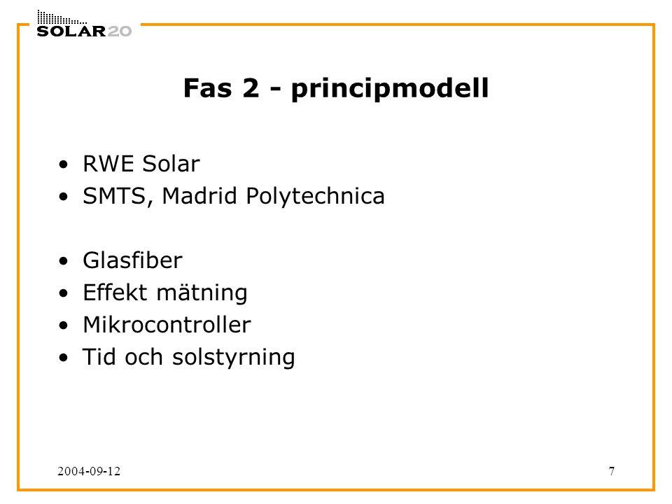 2004-09-127 Fas 2 - principmodell RWE Solar SMTS, Madrid Polytechnica Glasfiber Effekt mätning Mikrocontroller Tid och solstyrning