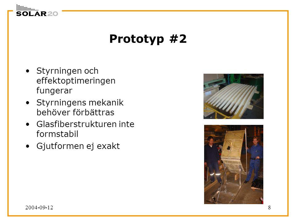 2004-09-128 Prototyp #2 Styrningen och effektoptimeringen fungerar Styrningens mekanik behöver förbättras Glasfiberstrukturen inte formstabil Gjutform