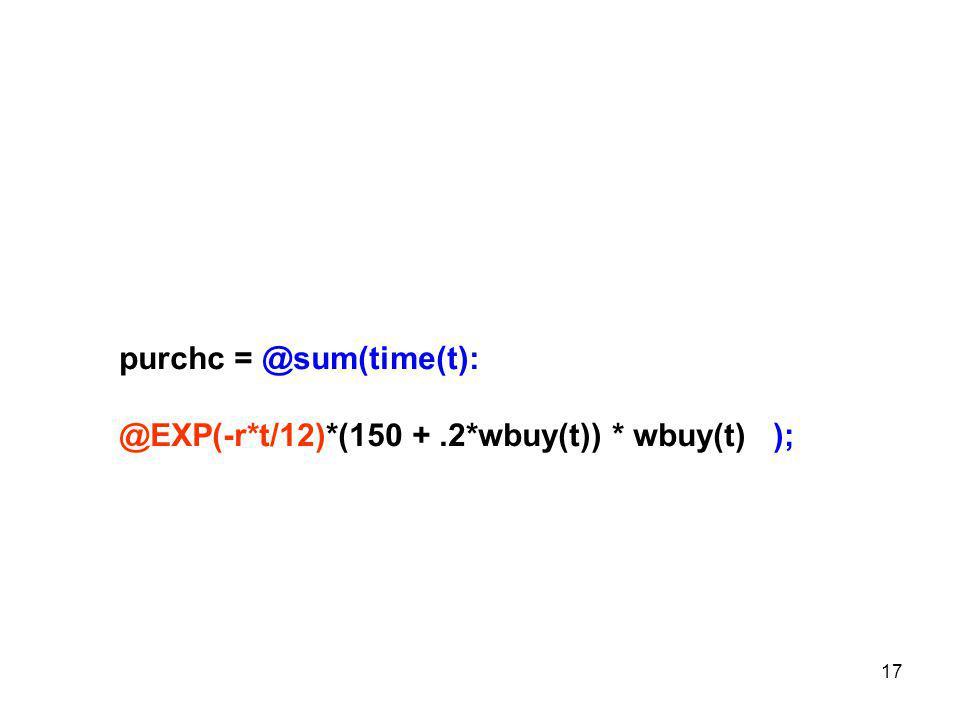 17 purchc = @sum(time(t): @EXP(-r*t/12)*(150 +.2*wbuy(t)) * wbuy(t) );