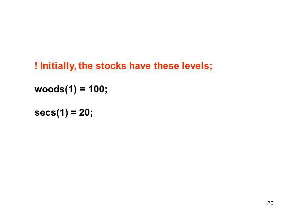 20 ! Initially, the stocks have these levels; woods(1) = 100; secs(1) = 20;