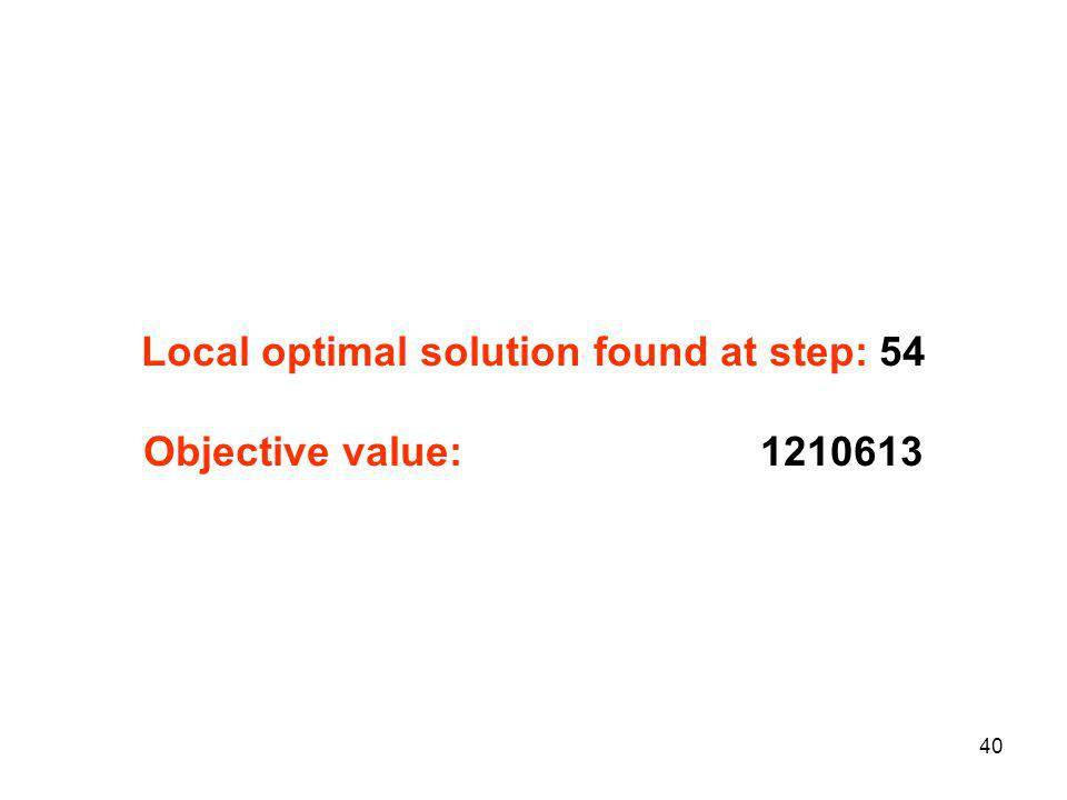 40 Local optimal solution found at step: 54 Objective value: 1210613
