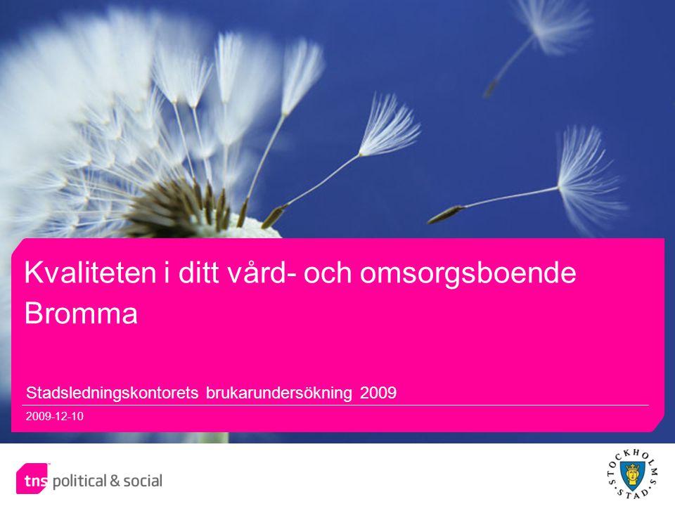 11 Kvaliteten i ditt vård- och omsorgsboende Stadsledningskontorets brukarundersökning 2009 2009-12-10 Bromma
