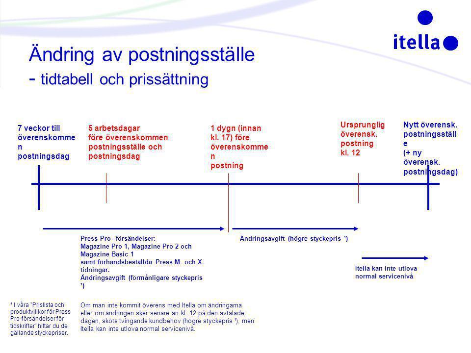 Ändring av postningsställe - tidtabell och prissättning Nytt överensk.