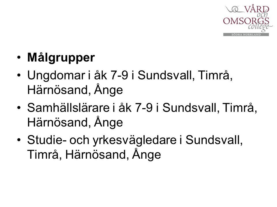 Målgrupper Ungdomar i åk 7-9 i Sundsvall, Timrå, Härnösand, Ånge Samhällslärare i åk 7-9 i Sundsvall, Timrå, Härnösand, Ånge Studie- och yrkesvägledar