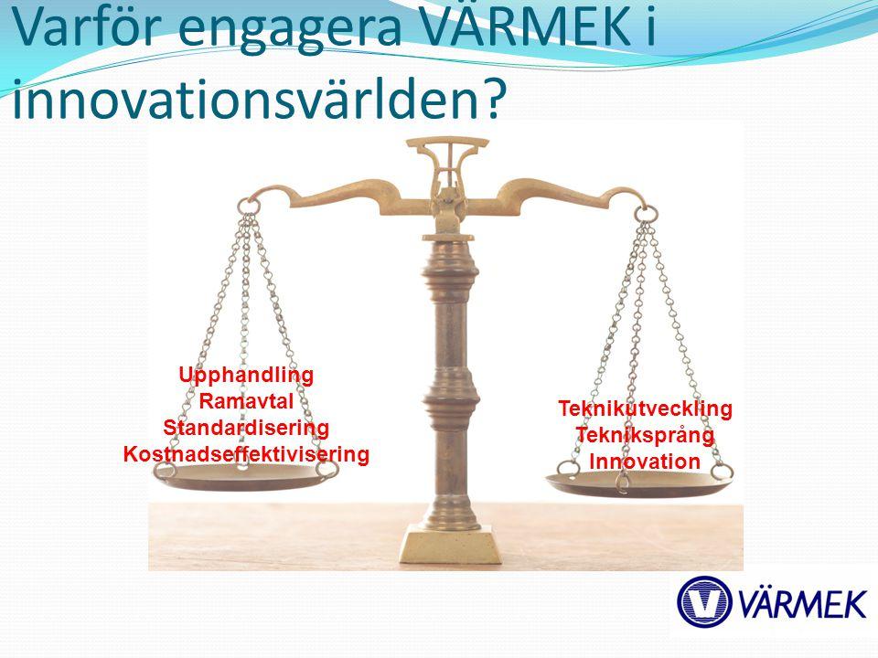 Varför engagera VÄRMEK i innovationsvärlden? Upphandling Ramavtal Standardisering Kostnadseffektivisering Teknikutveckling Tekniksprång Innovation