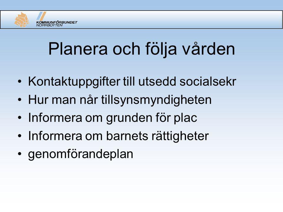 Planera och följa vården Kontaktuppgifter till utsedd socialsekr Hur man når tillsynsmyndigheten Informera om grunden för plac Informera om barnets rättigheter genomförandeplan