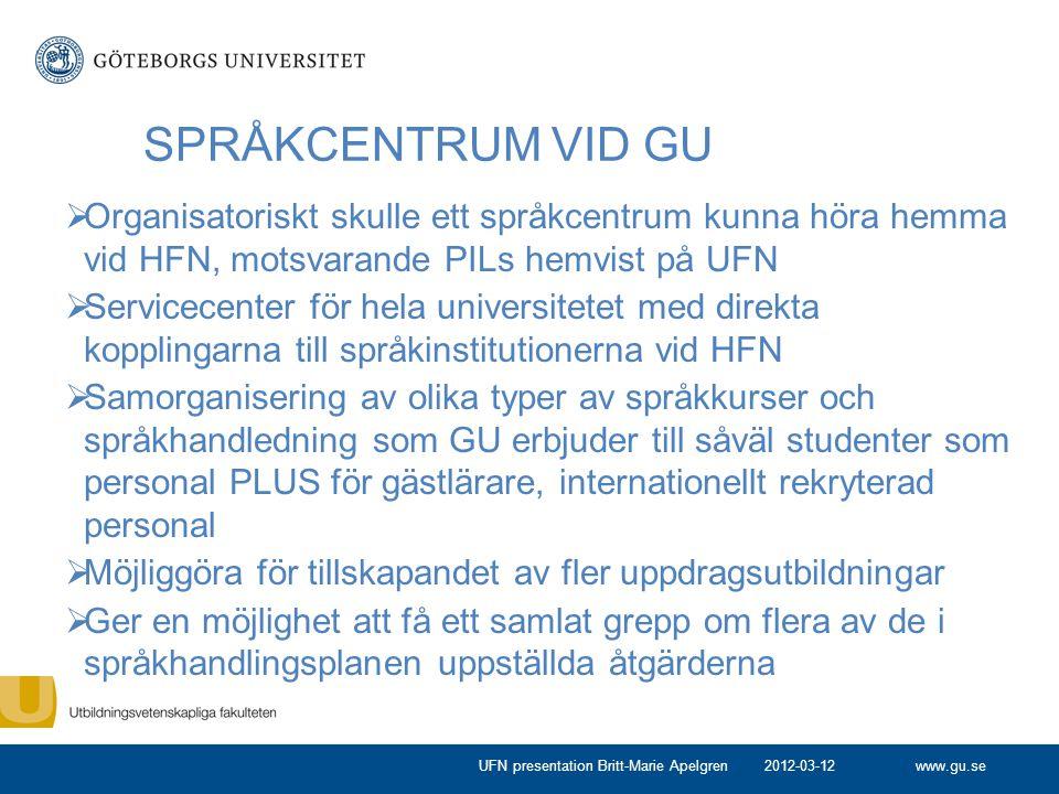 www.gu.se SPRÅKCENTRUM VID GU  Organisatoriskt skulle ett språkcentrum kunna höra hemma vid HFN, motsvarande PILs hemvist på UFN  Servicecenter för