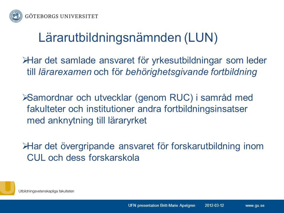 www.gu.se Lärarutbildningsnämnden (LUN)  Har det samlade ansvaret för yrkesutbildningar som leder till lärarexamen och för behörighetsgivande fortbil