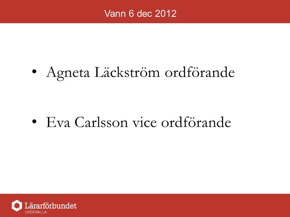 Vann 6 dec 2012 Agneta Läckström ordförande Eva Carlsson vice ordförande
