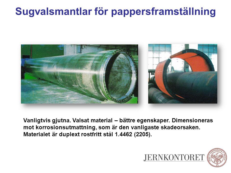 Sugvalsmantlar för pappersframställning Vanligtvis gjutna. Valsat material – bättre egenskaper. Dimensioneras mot korrosionsutmattning, som är den van
