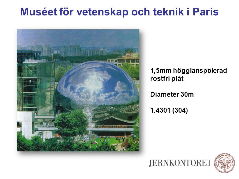 Muséet för vetenskap och teknik i Paris 1,5mm högglanspolerad rostfri plåt Diameter 30m 1.4301 (304)