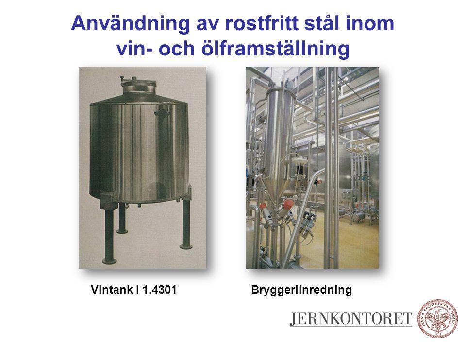 Användning av rostfritt stål inom vin- och ölframställning Vintank i 1.4301Bryggeriinredning