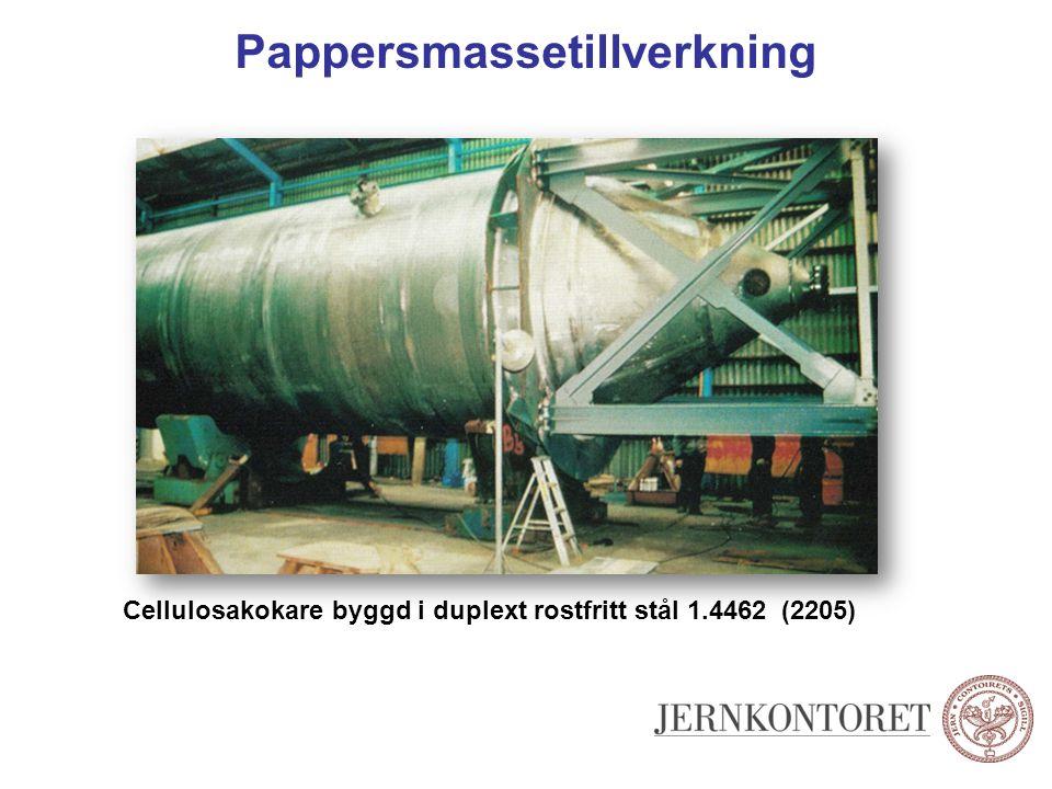 Pappersmassetillverkning Cellulosakokare byggd i duplext rostfritt stål 1.4462 (2205)