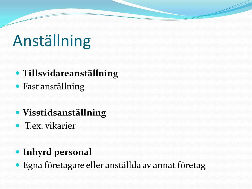 Anställning Tillsvidareanställning Fast anställning Visstidsanställning T.ex. vikarier Inhyrd personal Egna företagare eller anställda av annat företa