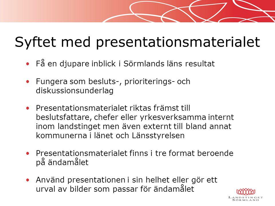Få en djupare inblick i Sörmlands läns resultat Fungera som besluts-, prioriterings- och diskussionsunderlag Presentationsmaterialet riktas främst til