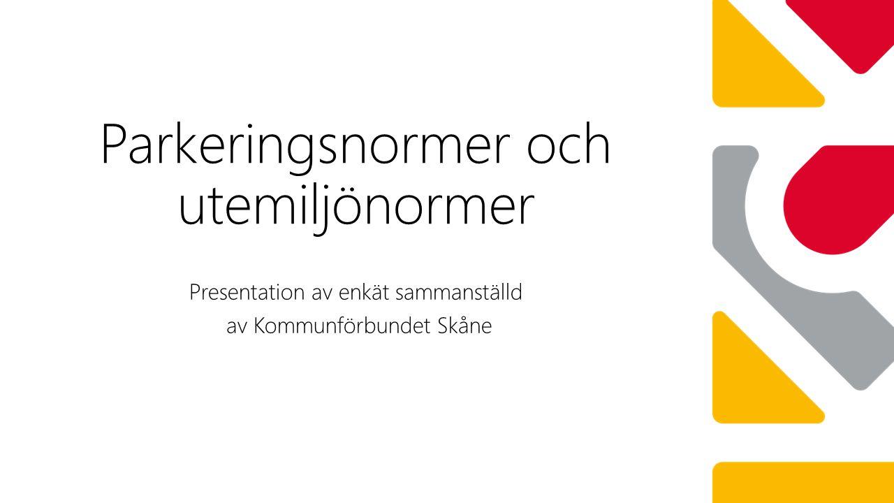 Parkeringsnormer och utemiljönormer Presentation av enkät sammanställd av Kommunförbundet Skåne